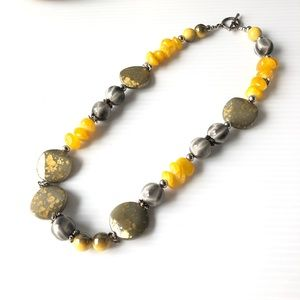 Jewelry - Quality Beaded Necklace Yellows and Greys